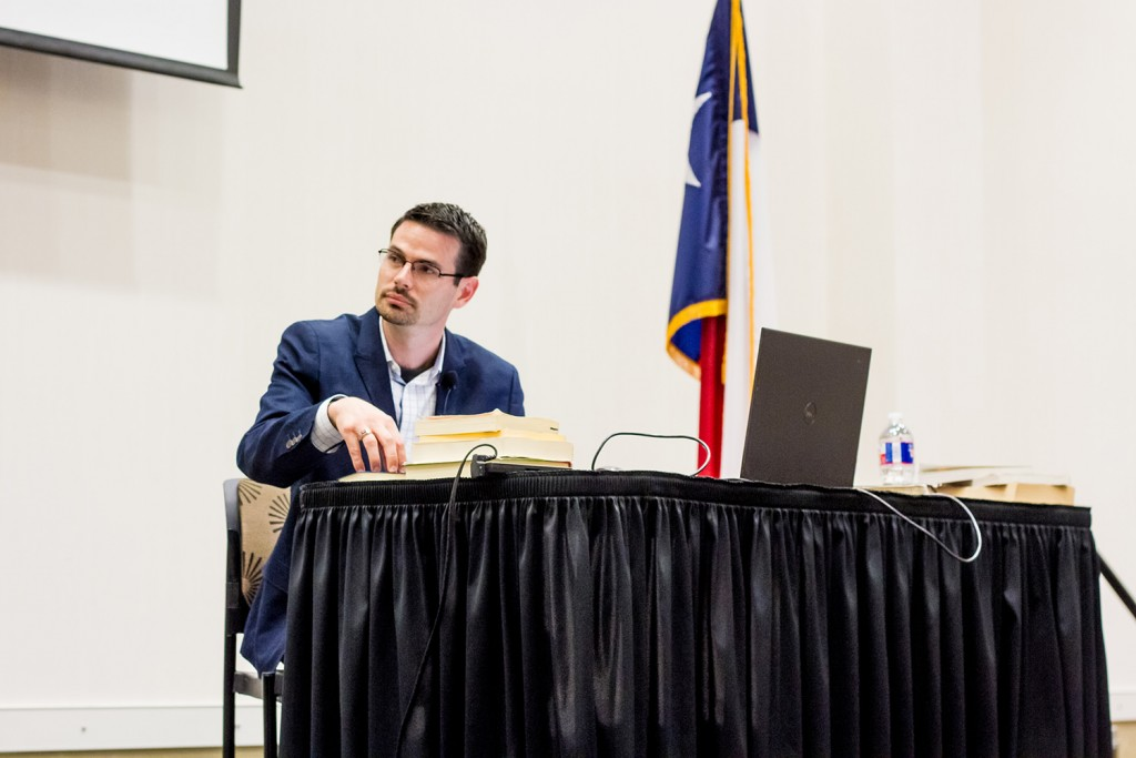 Justin Bass making a point during cross-examination.
